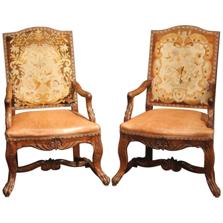 Pair of 18th Century French Carved Walnut Armchairs with Leather and Needlepoint