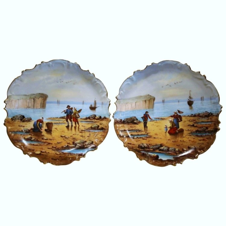 Pair of 19th Century French Porcelain Fishing Scenes Plates Signed Francis