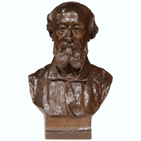 19th Century French Patinated Bronze Bust Signed A. Delorme, dated 1886