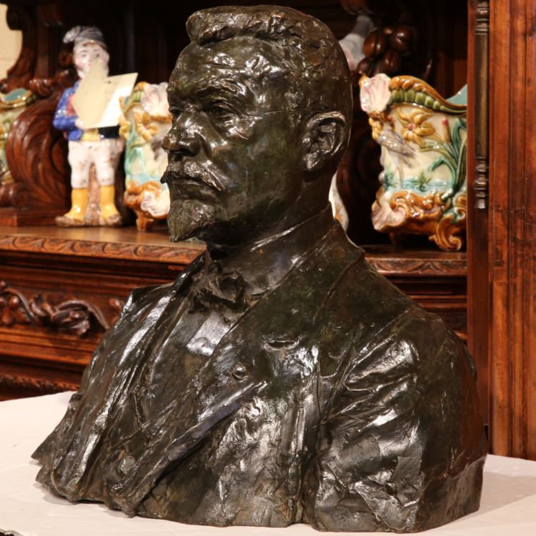 """Large 20th Century, French Bronze Bust Signed """"A. Descatoire"""" and Dated """"1913"""""""