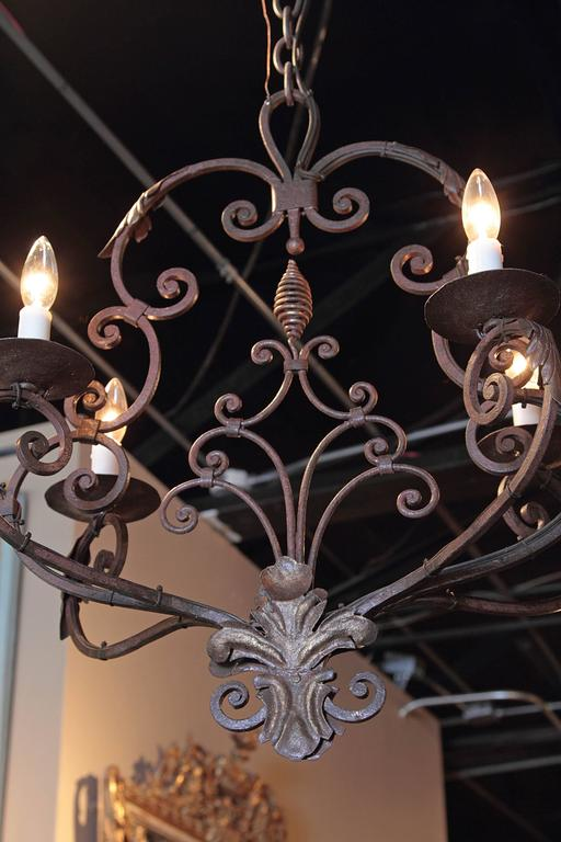 Early 20th century french six light verdigris iron chandelier with early 20th century french six light verdigris iron chandelier with fleur de lys aloadofball Gallery