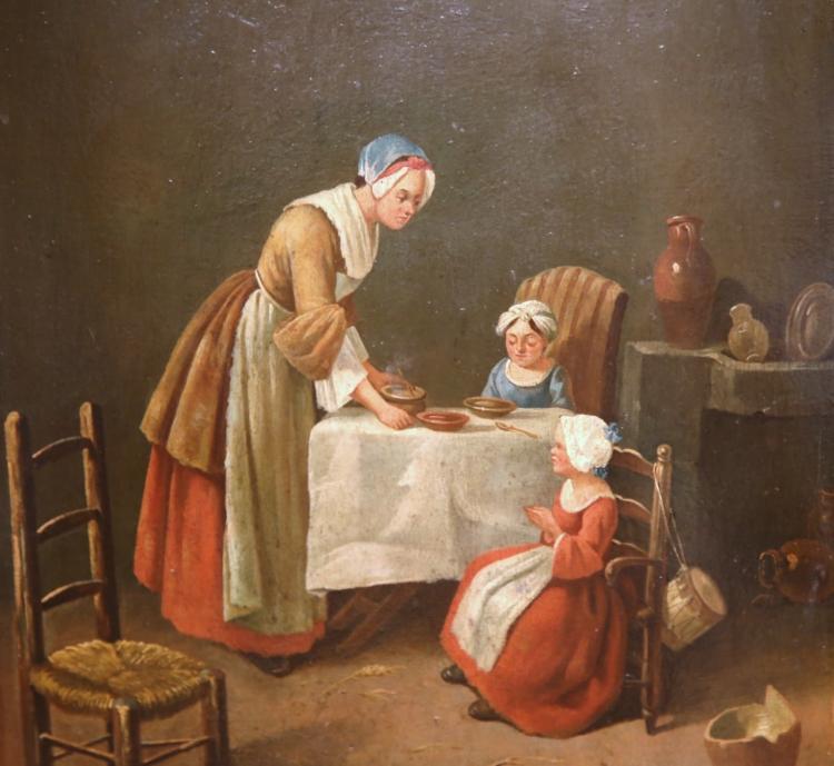 """19th Century French Oil Painting on Board """"Le B̩n̩dicit̩"""" or Grace in Gilt Frame"""
