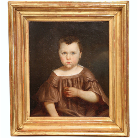 Early 19th Century French Oil Portrait Painting in Gilt Frame