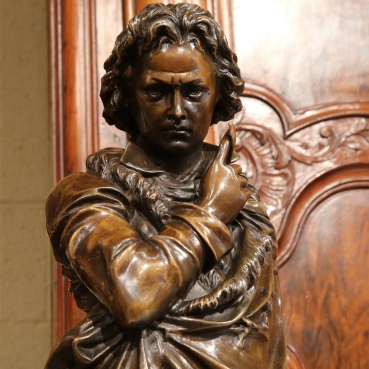 Large 19th Century French Bronze Statue on Black Marble Base Depicting Beethoven