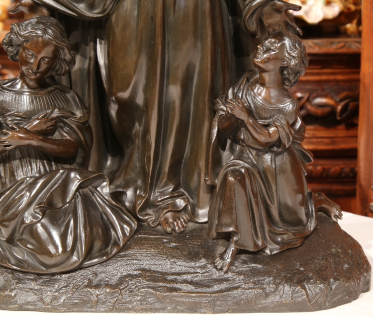 19th Century French Bronze Sculpture of Christ and Women Kneeling at His Feet