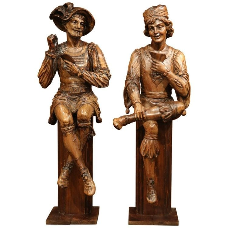 """Pair of Mid-18th Century Italian Carved Walnut Statues """"The Cards Players"""""""