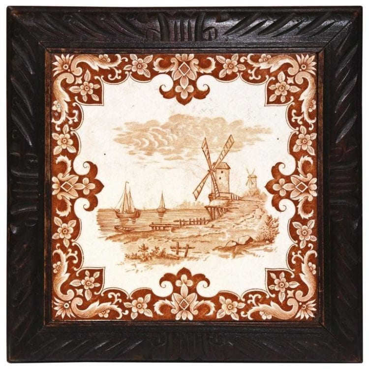 19th Century French Carved Musical Hot Dish Tray with Hand-Painted Tile