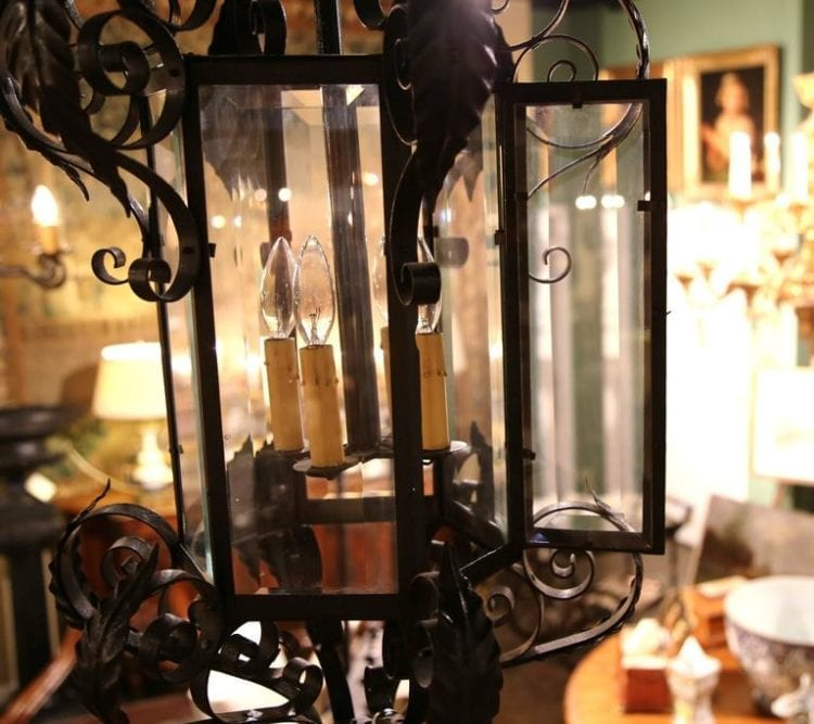 Large Early 20th Century, French Four-Light Iron Lantern with Beveled Glass