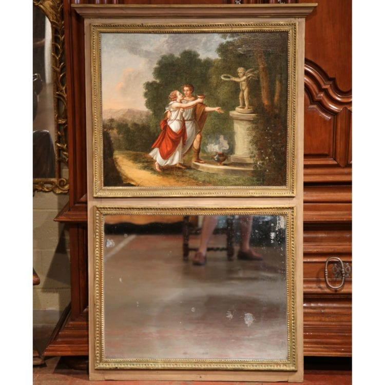 19th Century French Hand-Painted Trumeau Mirror from Normandy with Gilt Trim