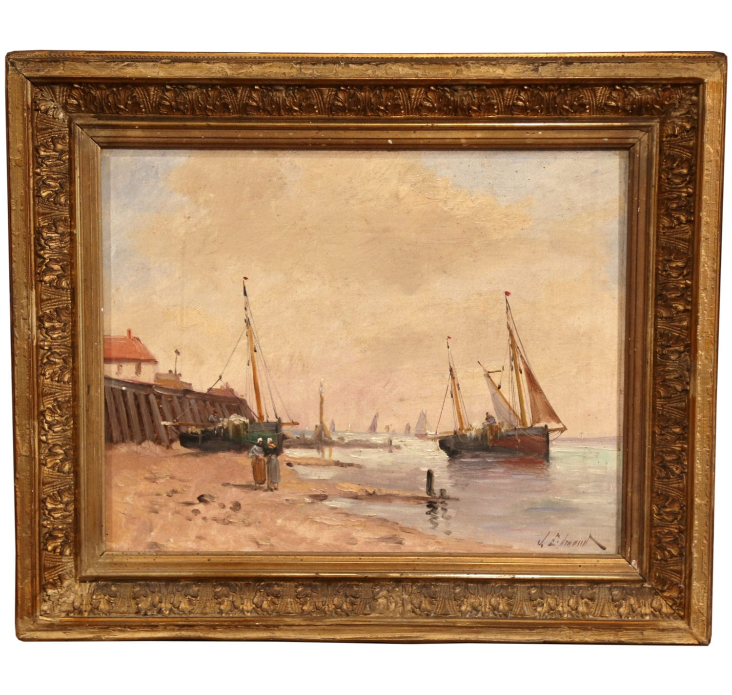 19th Century French Oil On Canvas Marine Scene Painting
